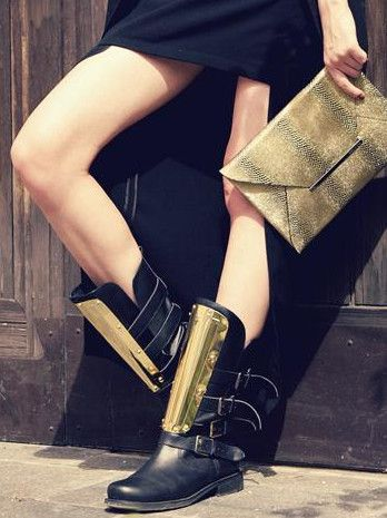 Black and metal boots