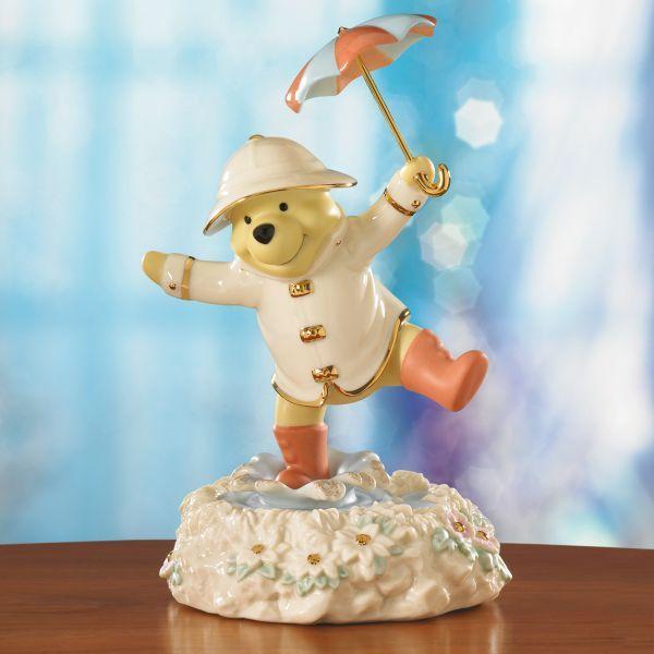 lenox disney figurines   Disney's Pooh's Singing in the Rain Figurine by Lenox from Lenox