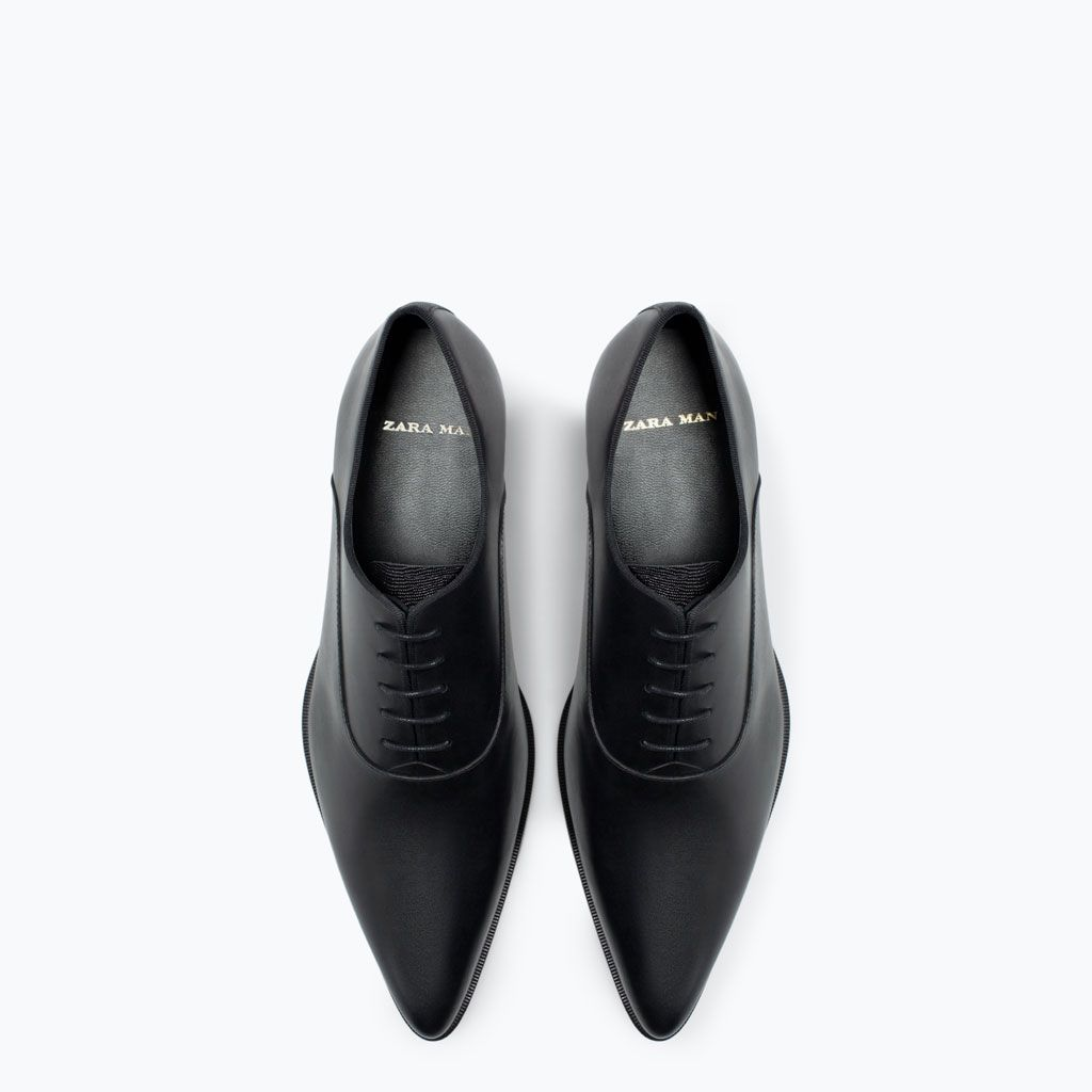 Image 3 of LEATHER OXFORD SHOE WITH POINTED TOE from Zara in