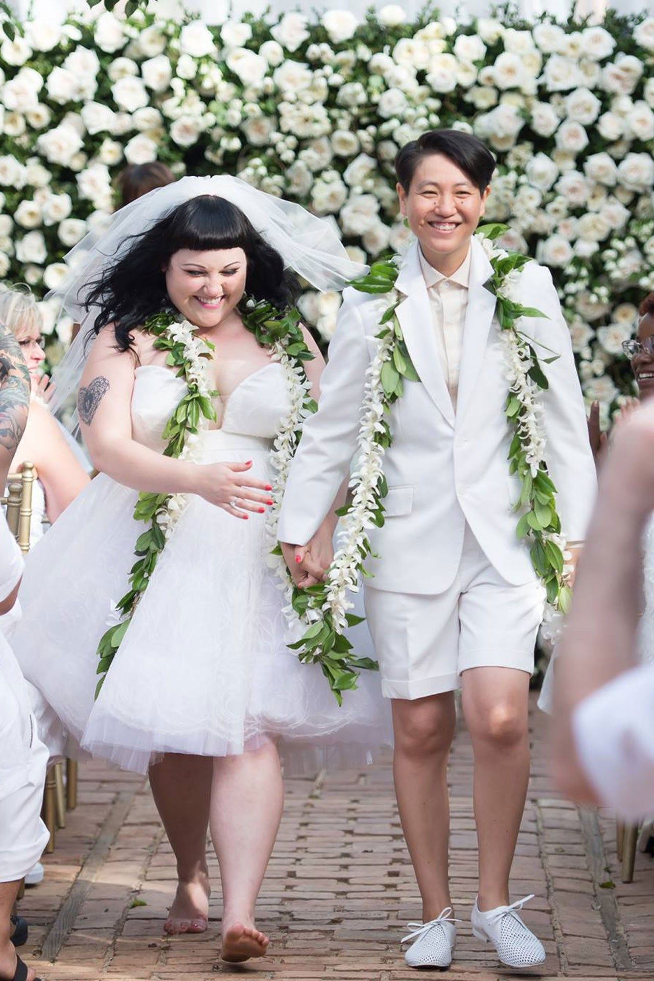 Congratulations to #feminist Beth Ditto (of The Gossip) — who just married her long-term girlfriend Kristin Ogata on the Hawaiian island of Maui! Wedding details (#JKWC loves the newlyweds' matching floral garlands... and Beth's #JPG Jean Paul Gaultier dress & Kristin's all-white ensemble) http://www.vogue.co.uk/news/2013/07/24/beth-ditto-wedding-details---jean-paul-gaultier-wedding-dress