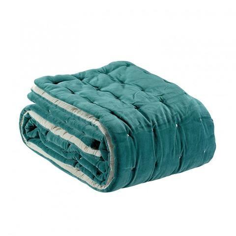 hbc bout de lit edredon plaid velours coton elise vert de gris 90x240 cm nouveaux. Black Bedroom Furniture Sets. Home Design Ideas