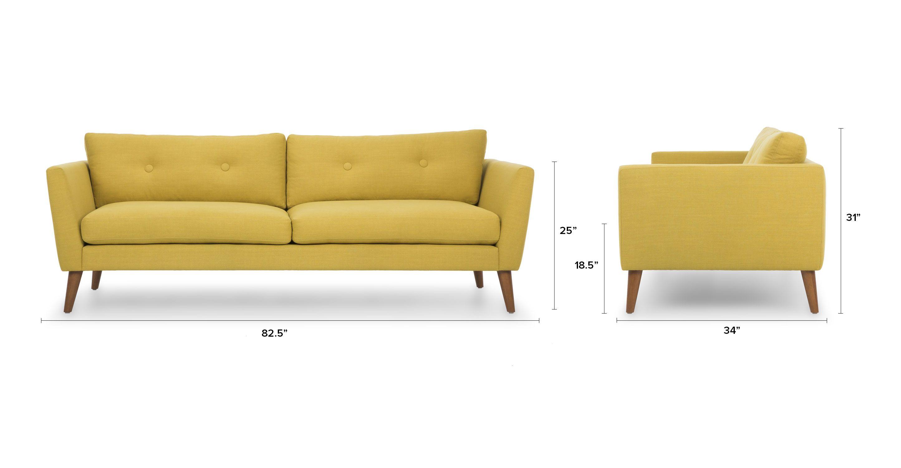 Emil Chartreuse Yellow Sofa Yellow Sofa Scandinavian Furniture  # Teodora Muebles
