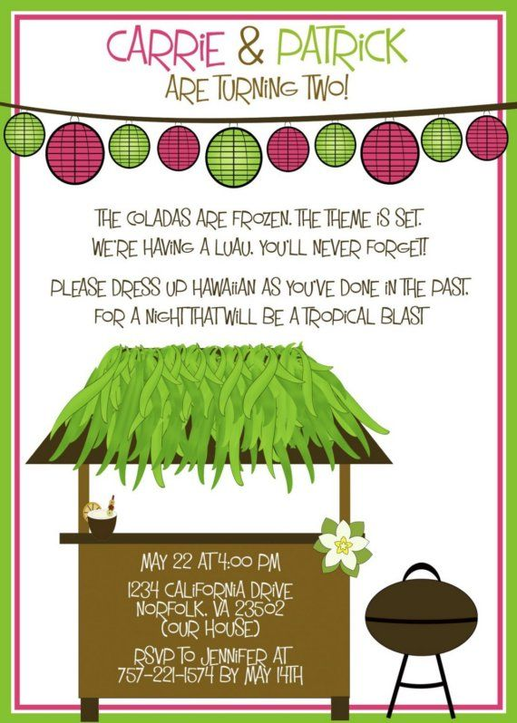 Luau Party Invitation Sample Done For Twins By Designink On Etsy 1299