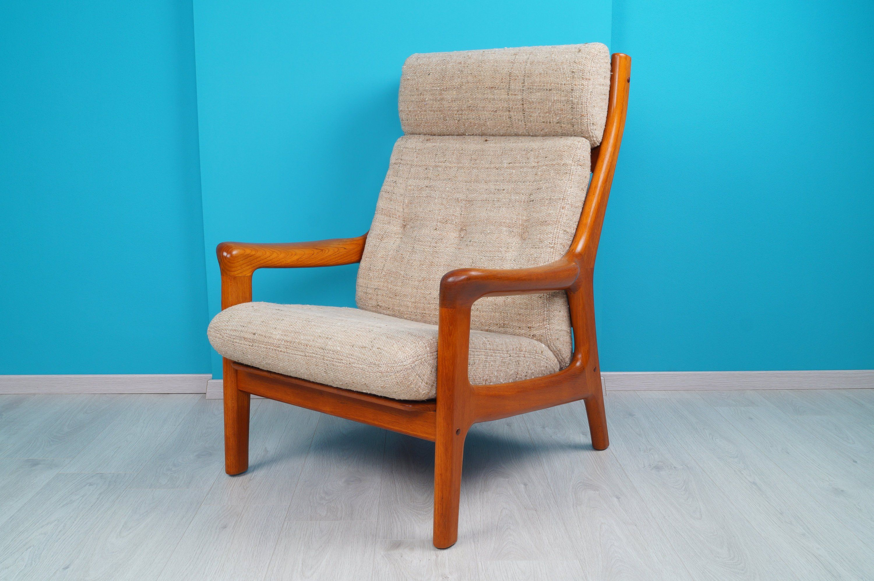 Sessel 70er Holz Danish Teak Relax Lounge Chair Sessel 60er Thams Designer High