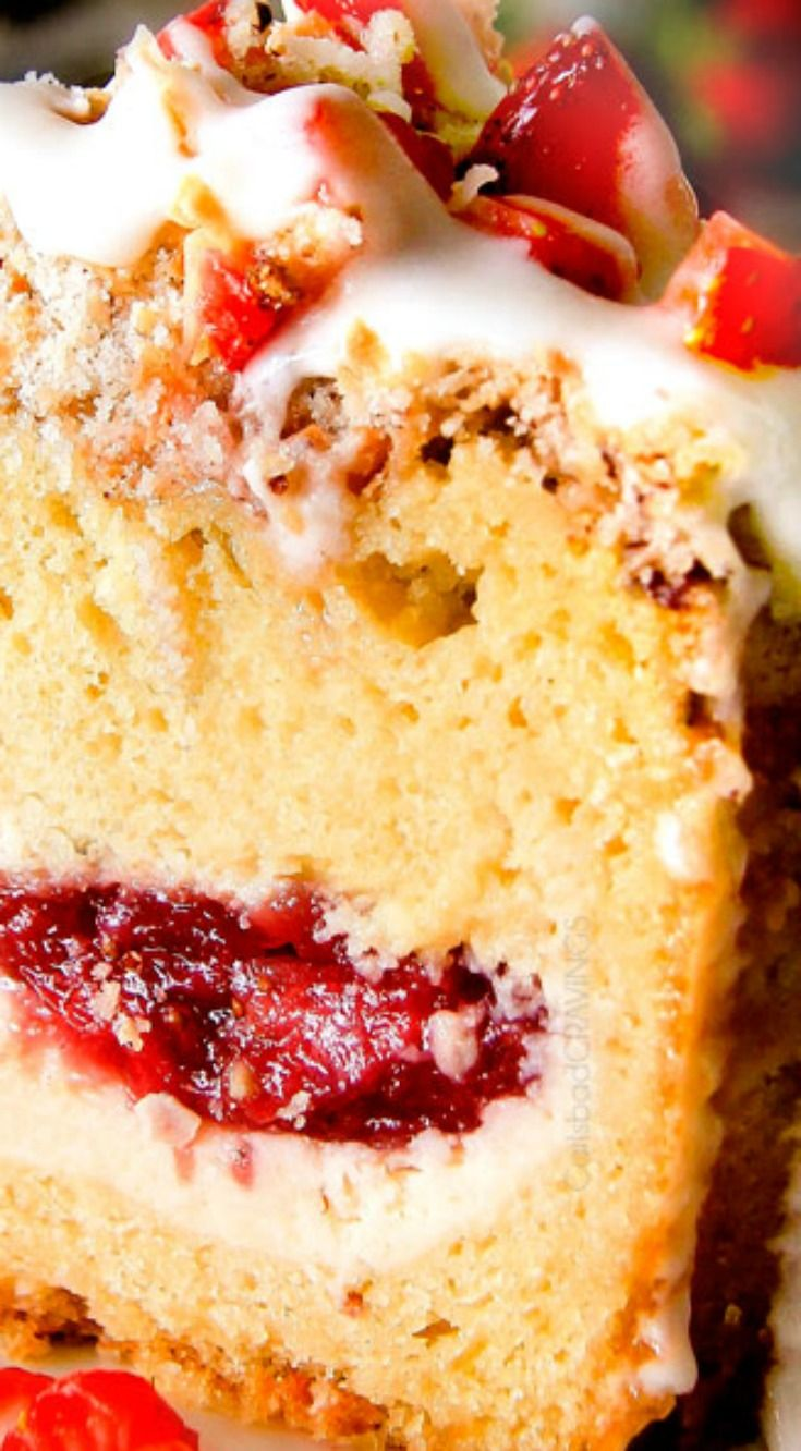 Strawberry Cream Cheese Stuffed Sour Cream Coffee Cake With An Incredibly Creamy Cheesecake Like Cream Coffee Cake Coffee Cake Recipes Sour Cream Coffee Cake
