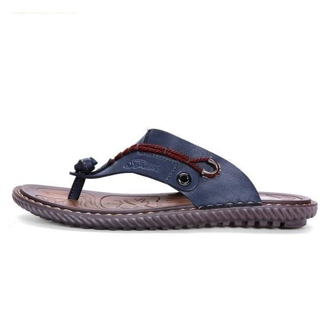 Men's Flip Flop Styled Leather Beach Sandals with Buckle Strap – Sky Blue / 6.5