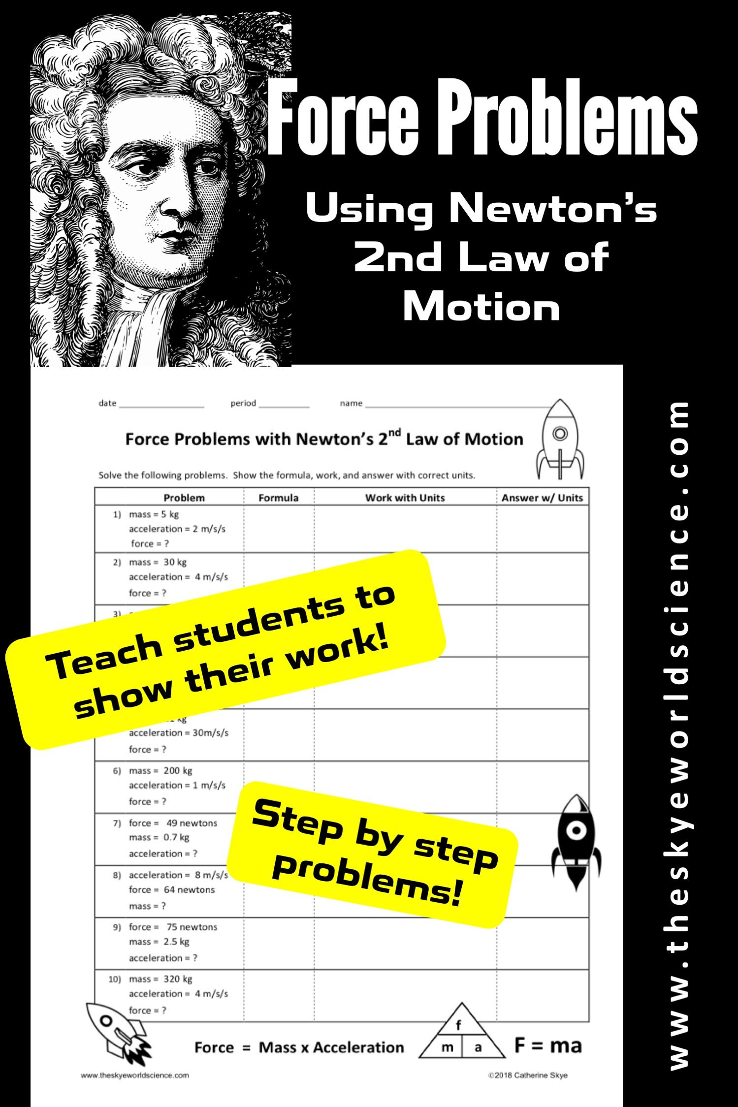 Force Problems Using Newton's 2nd Law of Motion Worksheet ...