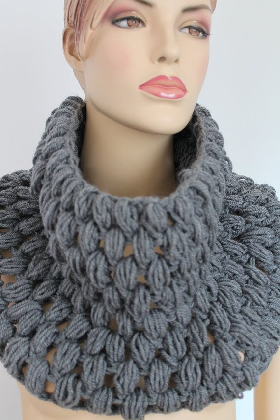 Crochet Grey Scarf Cowl Scarf Neck Warmer by levintovich on Etsy, $59.00