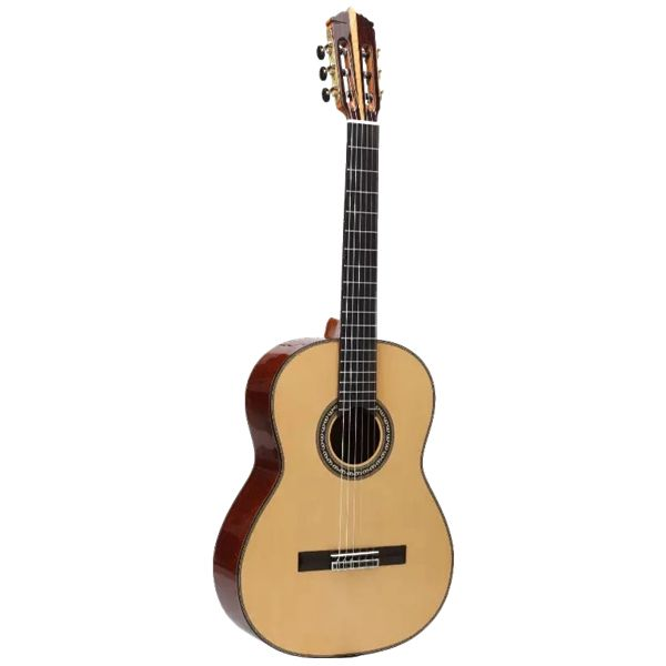 "JCR-405-S is also a concert #classical #guitar. The #full #solid #classical #guitar is introduced European Spruce #solid #top, Cocobolo Ood solid Back & Side, Red Pine neck, African Ebony finger board as well as SAVSREZ string.There is only 39"" for this model. Dickquard is for option. Standar packing with ABS guitar case."