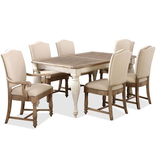 Riverside Furniture Coventry Two Tone Rectangular Leg Dining Table Prepossessing Two Toned Dining Room Sets Decorating Design