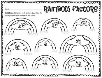 Factoring Numbers Rainbow Style! Practice Worksheet FREE