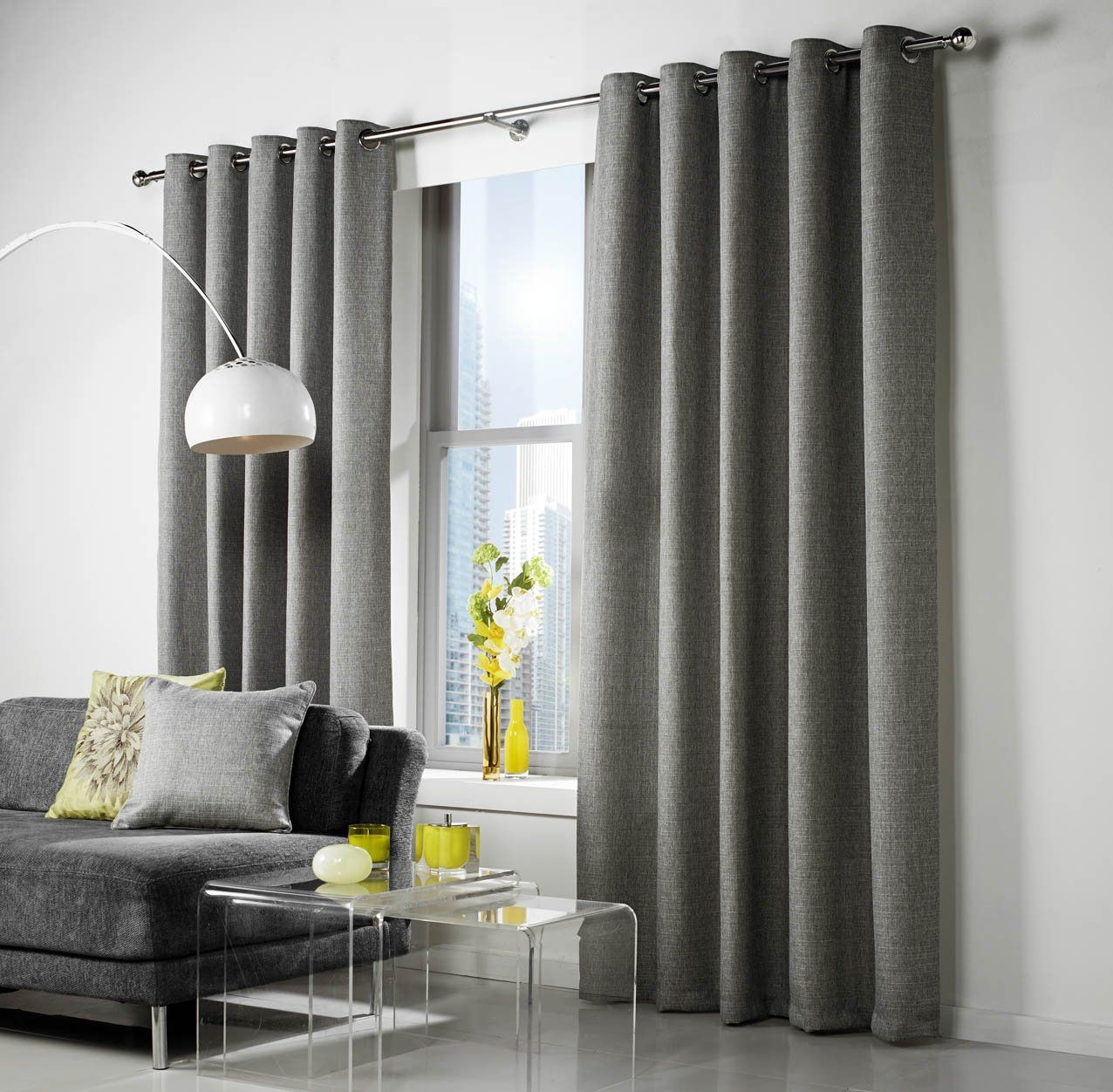 LINEN Tweed Look Lined Curtains GREY Dove Gray Silver Eyelet Top 46 ...
