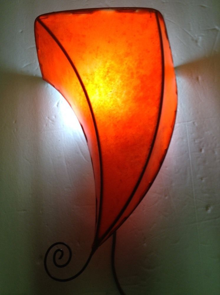 Moroccan Henna Red Goat Leather & Wrought Iron Conical Sconce Lamp Shade  #Handmade #Moroccan