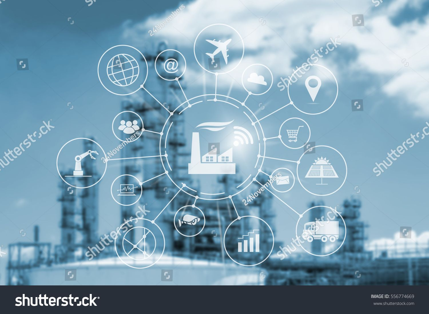 Industry 4.0 concept, smart factory with icon flow