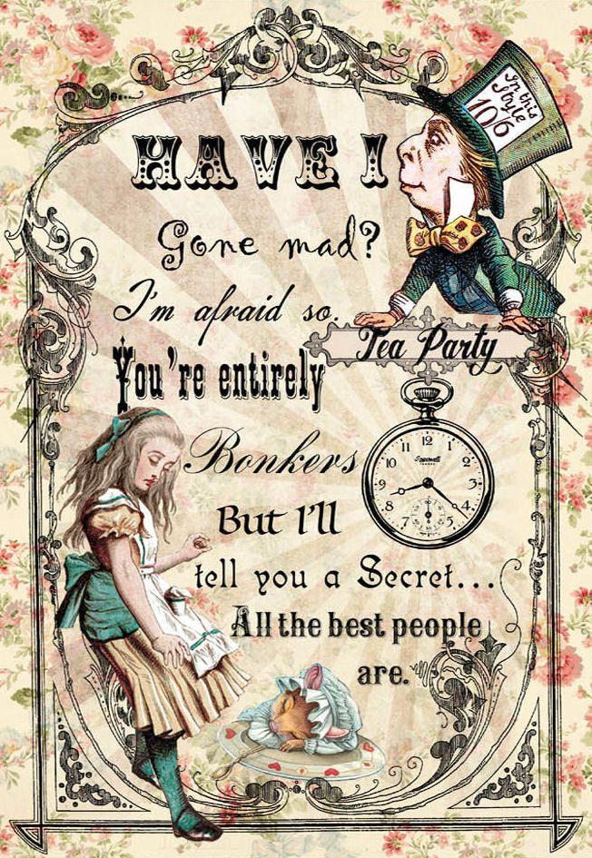 Framed Print Alice In Wonderland Have I Gone Mad (Picture Looking ...