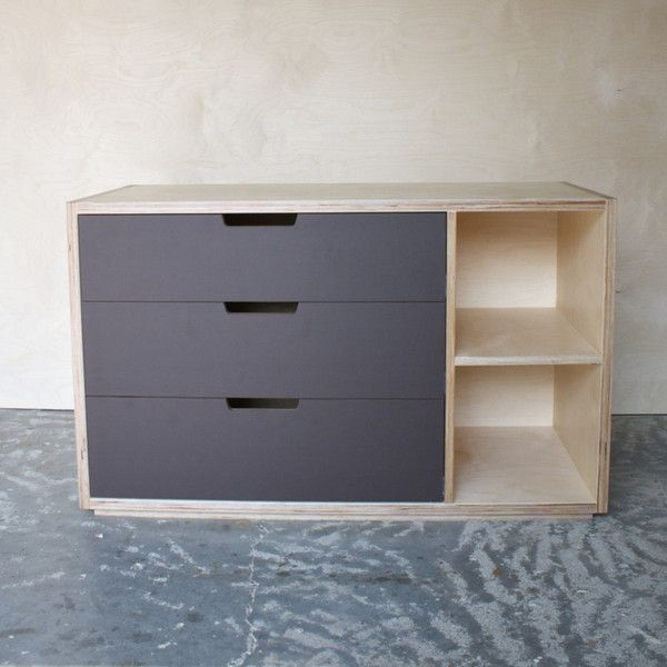 Plywood bedroom drawer unit with lino fronts and open ...