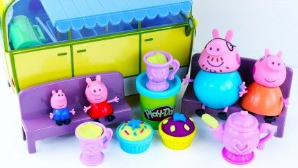 Peppa Pig Family Tea Party and Play Doh Sweet Treats with Peppa's Camper Van.