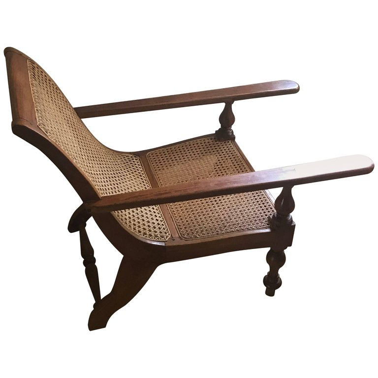 British Colonial Ceylonese Satinwood Caned Long Arm Baby Planters Chair In 2021 British Colonial Satinwood Chair