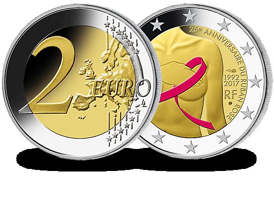 França 2017 Moeda Comemorativa 2 Euro Contra O Câncer De Mama