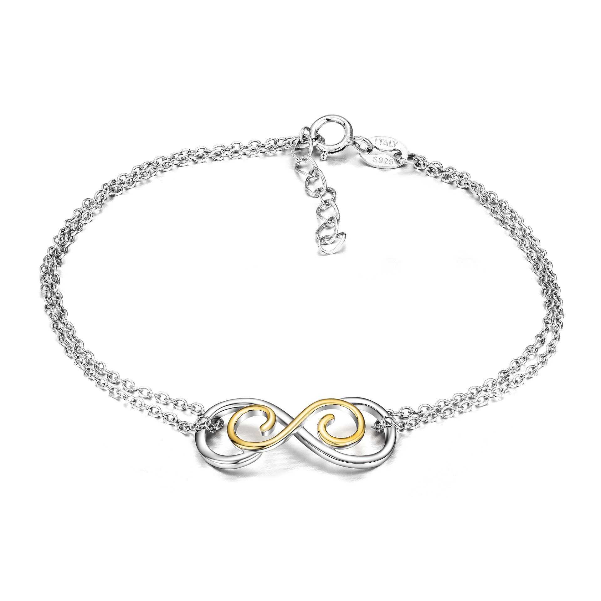 Sterling Silver Infinity Endless Love Symbol Charm Adjustable