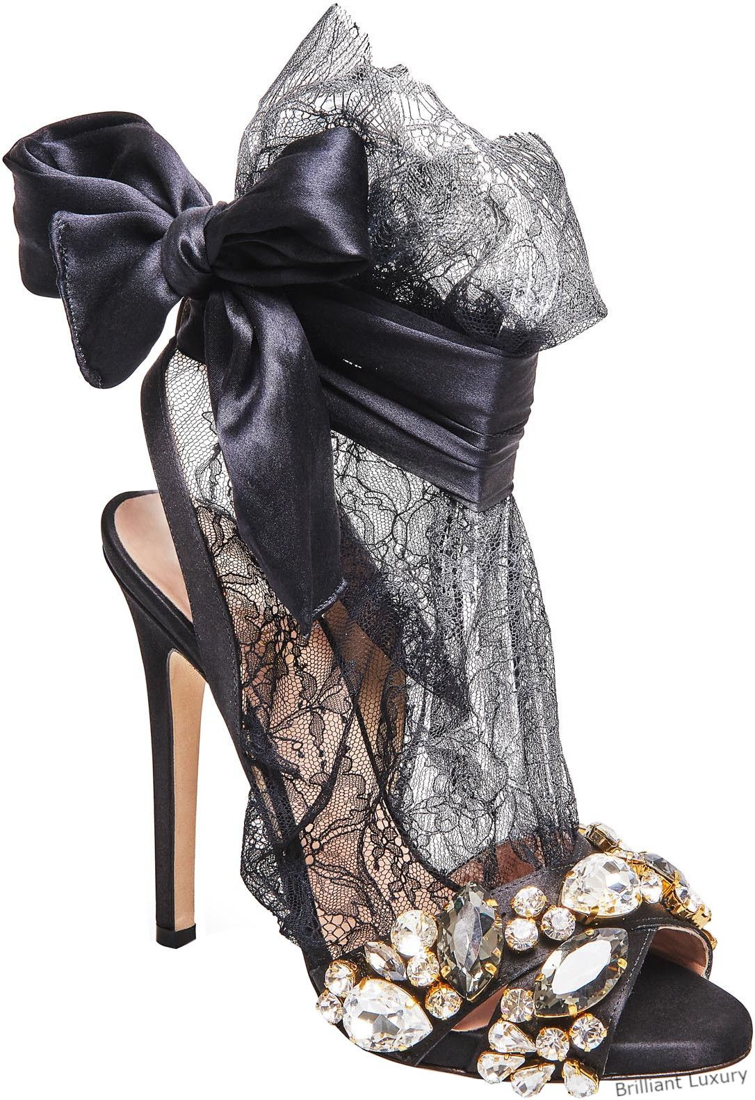 eaedc48ec281a Brilliant Luxury│NEW IN│Gedebe bejeweled satin lace sandals in black