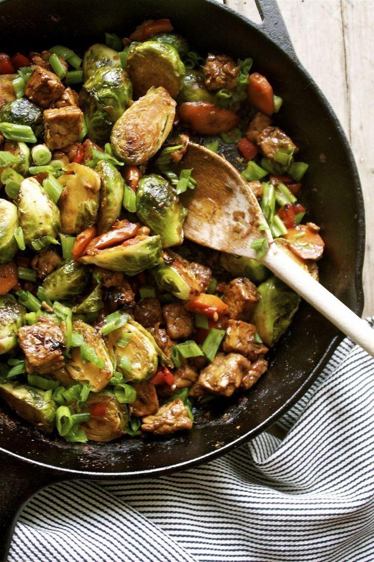 15 Minute Brussels Sprout Tempeh Stir Fry Vegetarian