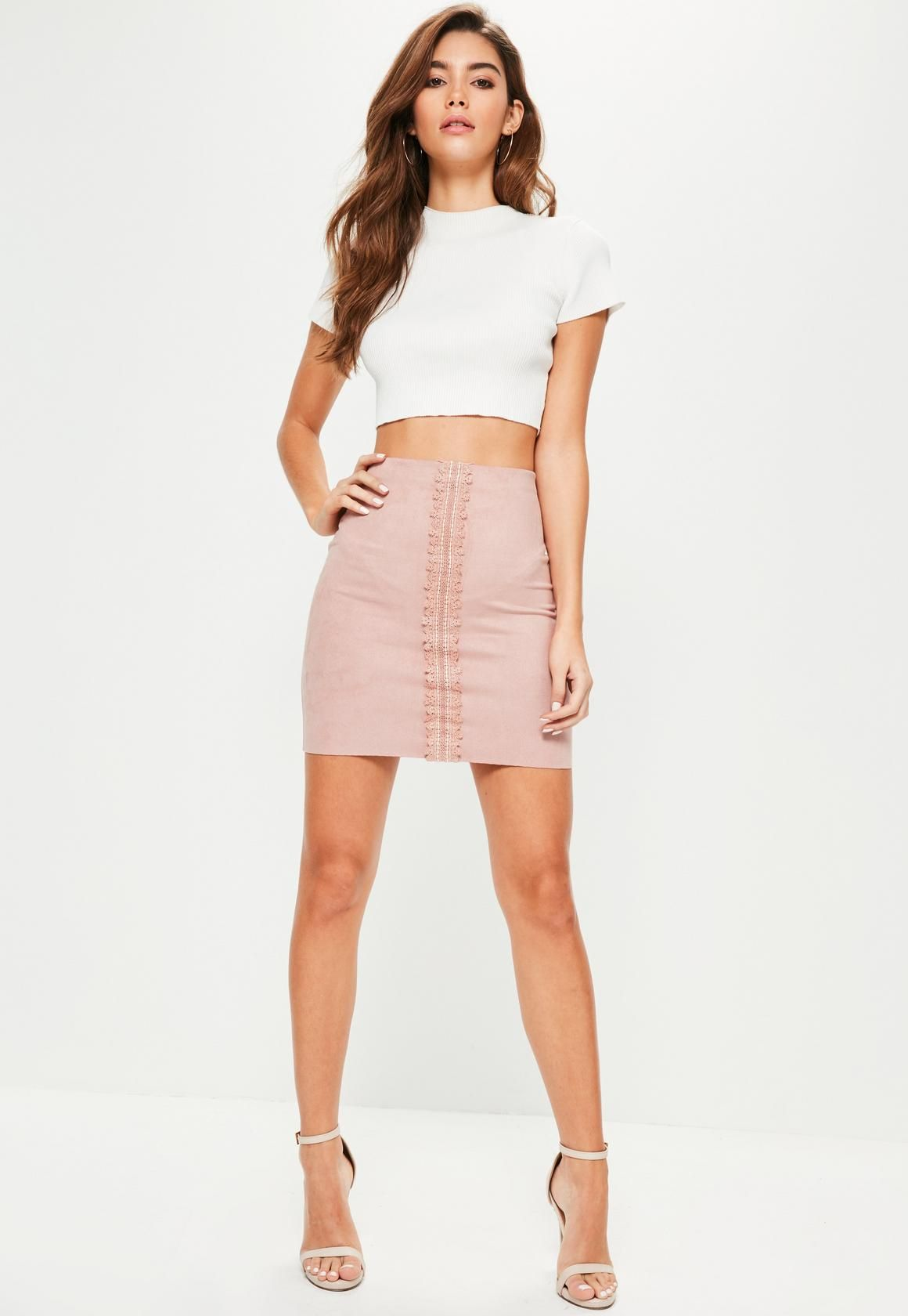 613290580 Missguided - Pink Faux Suede Lace Detail Mini Skirt | Ootds in 2019 ...