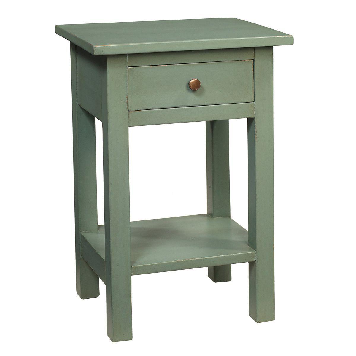 tarakan end table slate blue  rustic living room
