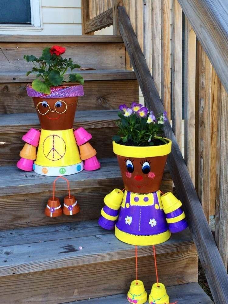 tontopfmännchen mit bunter kleidung | tontöpfe | pinterest | bunt, Garten und bauen