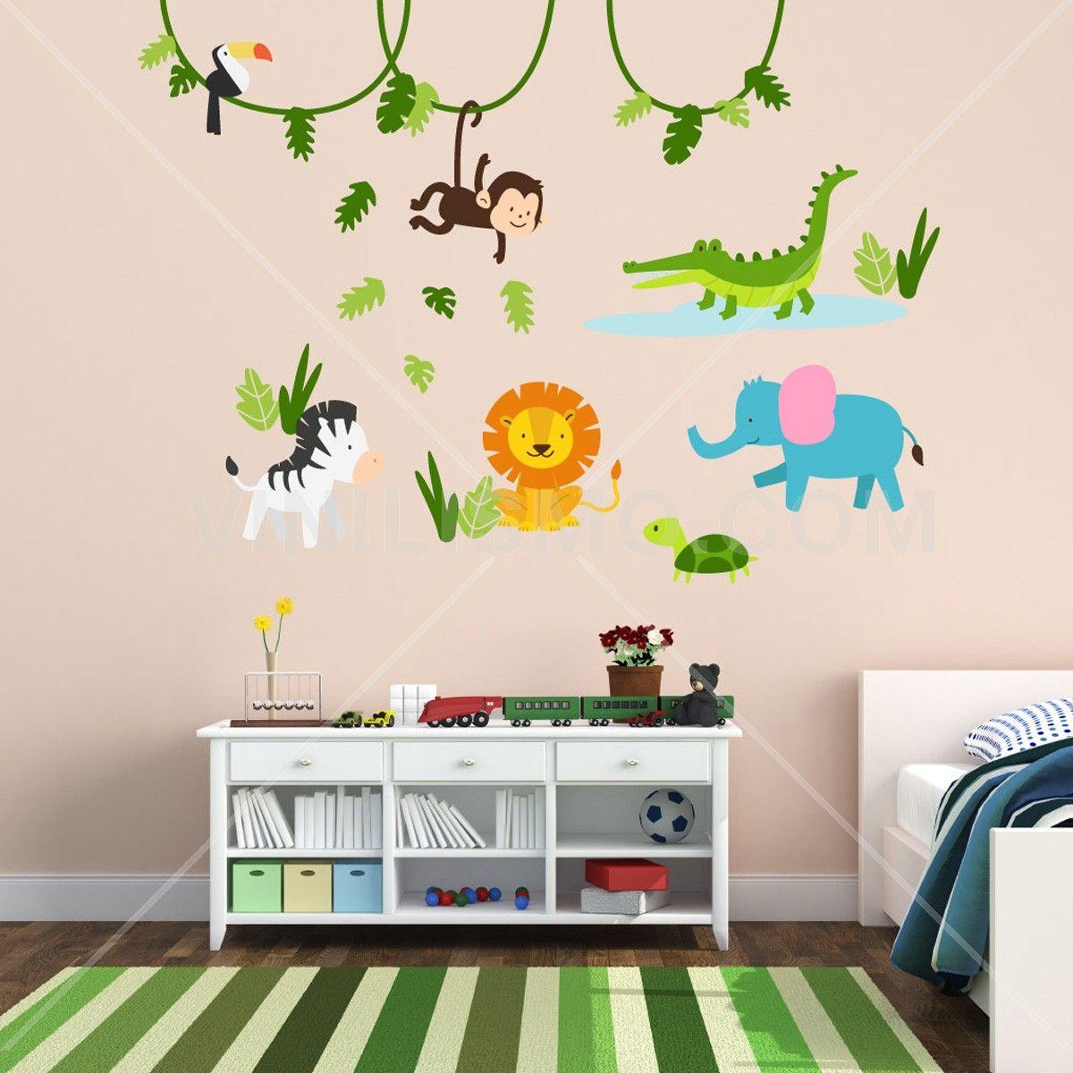 Vinilo decorativo la selva cuarto para el principe for Decoracion para bebe nina