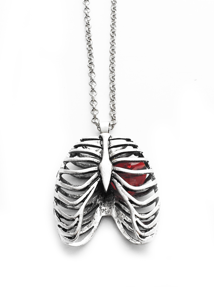 Photo of Anatomical Rib Cage Necklace with Crystal Heart by Queen of Jackals