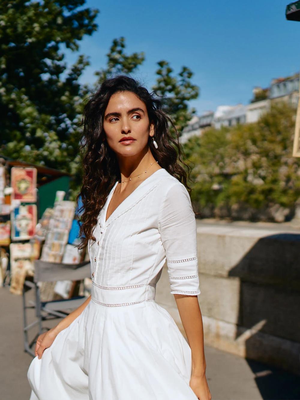 Fiona Cotton Midi Dress In 2021 Necklines For Dresses Dresses Cotton Midi Dress [ 1333 x 1000 Pixel ]