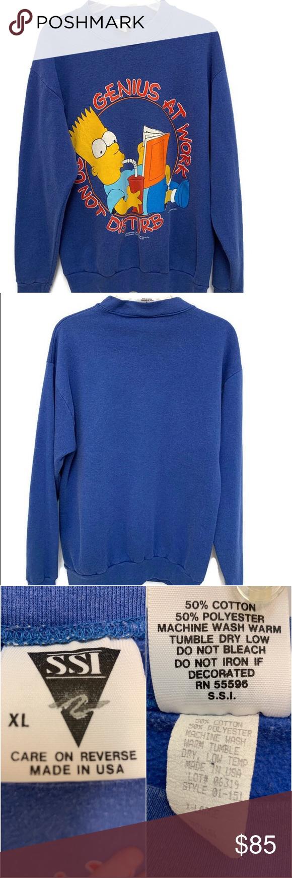 1990 The Simpson Sweatshirt Bart Simpson Size Xl Vintage 1990 Bart Simpson Sweatshirt Do Not Disturb Genius At Sweatshirts Sweatshirt Shirt Sweatshirts Hoodie [ 1740 x 580 Pixel ]