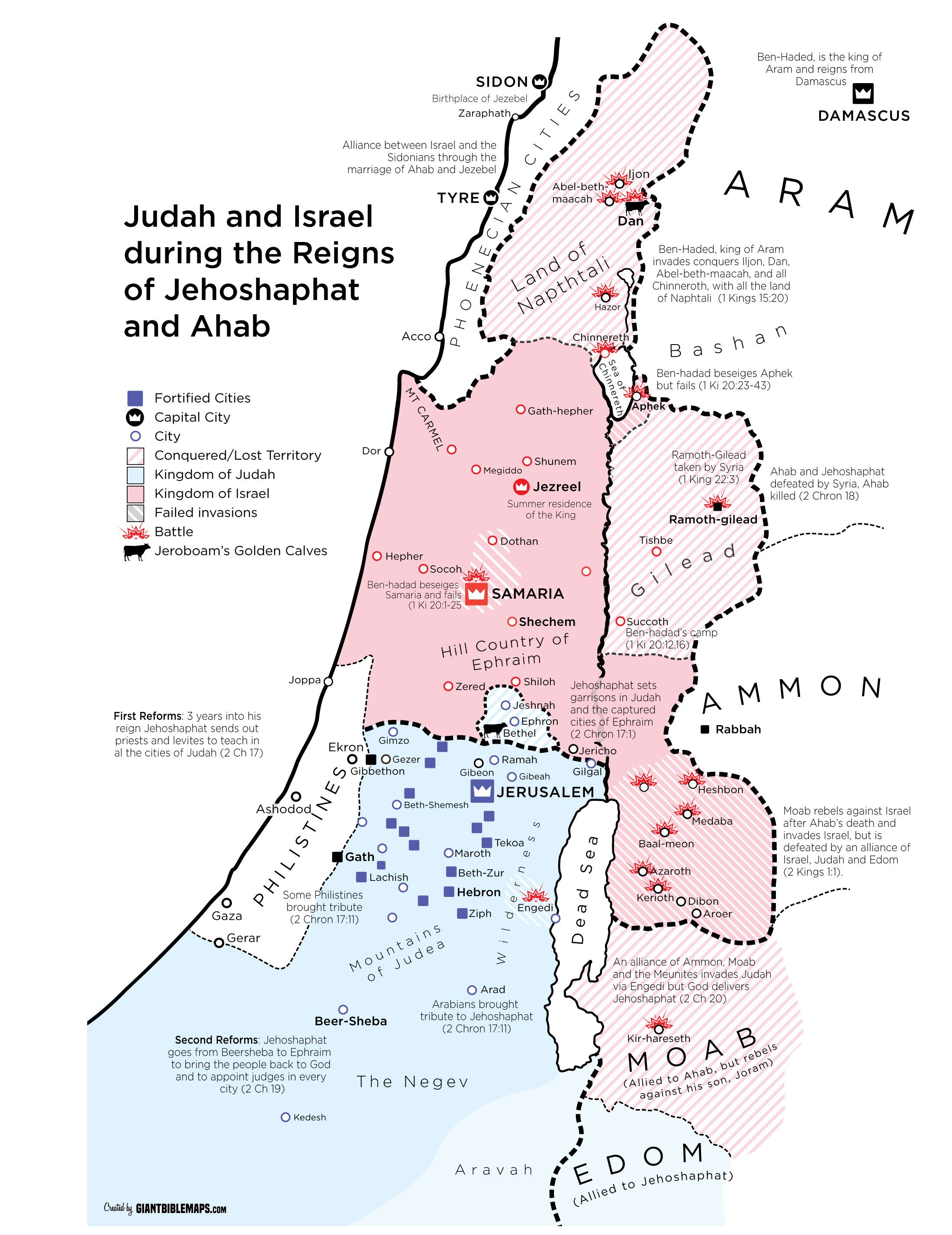 Map Of Israel And Judah During The Reign Of Jehoshaphat