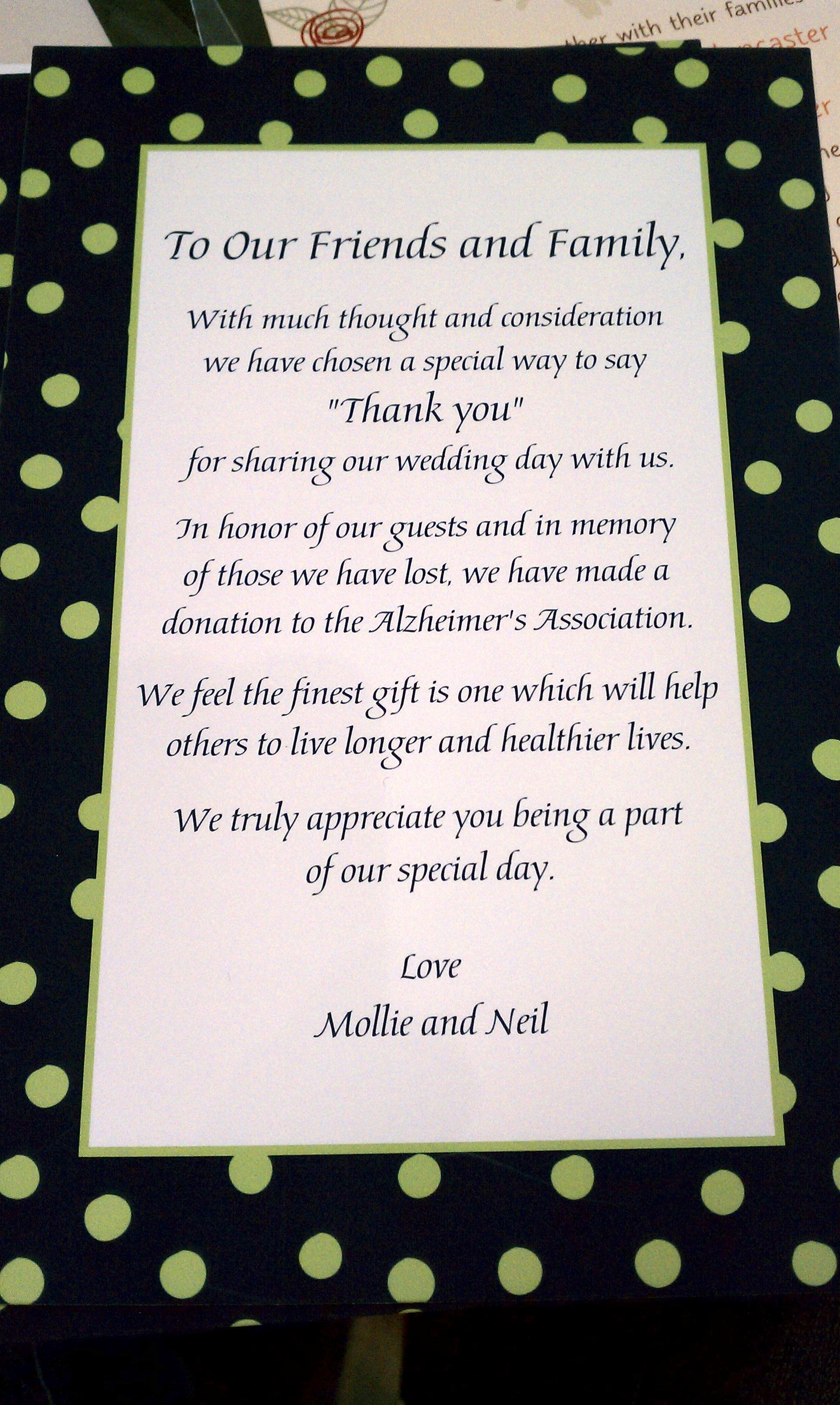 Nice note about donation instead of favors | Wedding | Pinterest ...