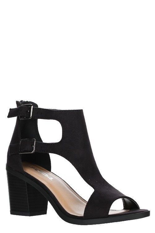 Faux Suede Peep Toe Wedge