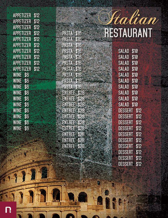 free italian restaurant menu template menu italian pinterest