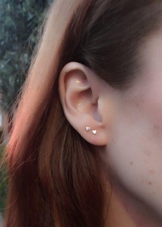 510699b8d4a 14k gold heart earrings, gold heart studs, tiny heart studs, mini ...