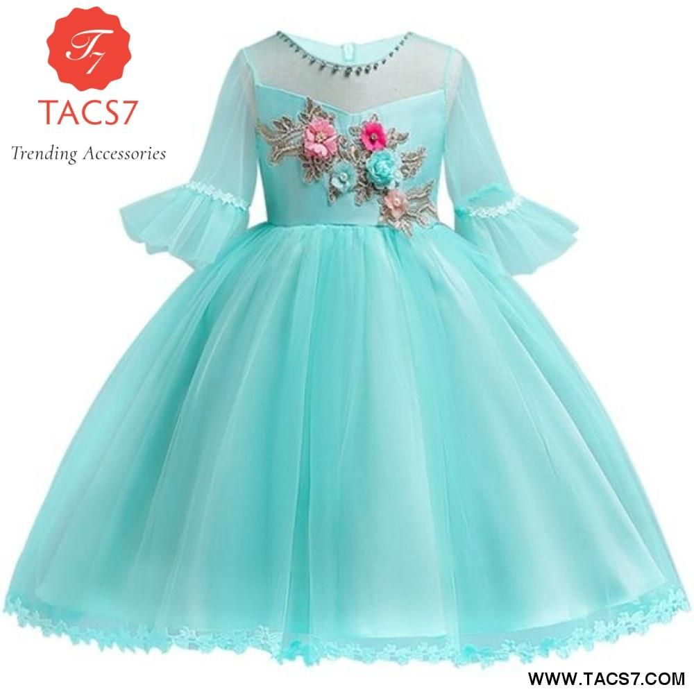 Kids Girl Flare Princess Dress Dresses Lace Wedding Dress With Sleeves Frocks For Girls
