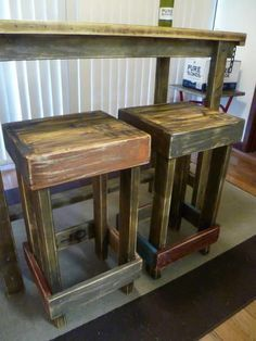 UNIQUE FUNKY RUSTIC INDUSTRIAL WORKSHOP WOODEN BAR STOOLS Chairs