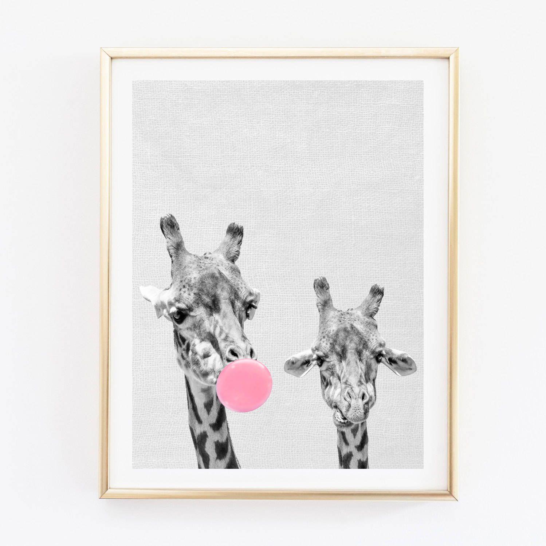 Giraffes print nursery wall art giraffe bubble gum poster giraffes print nursery wall art giraffe bubble gum poster bubble gum wall decor amipublicfo Image collections