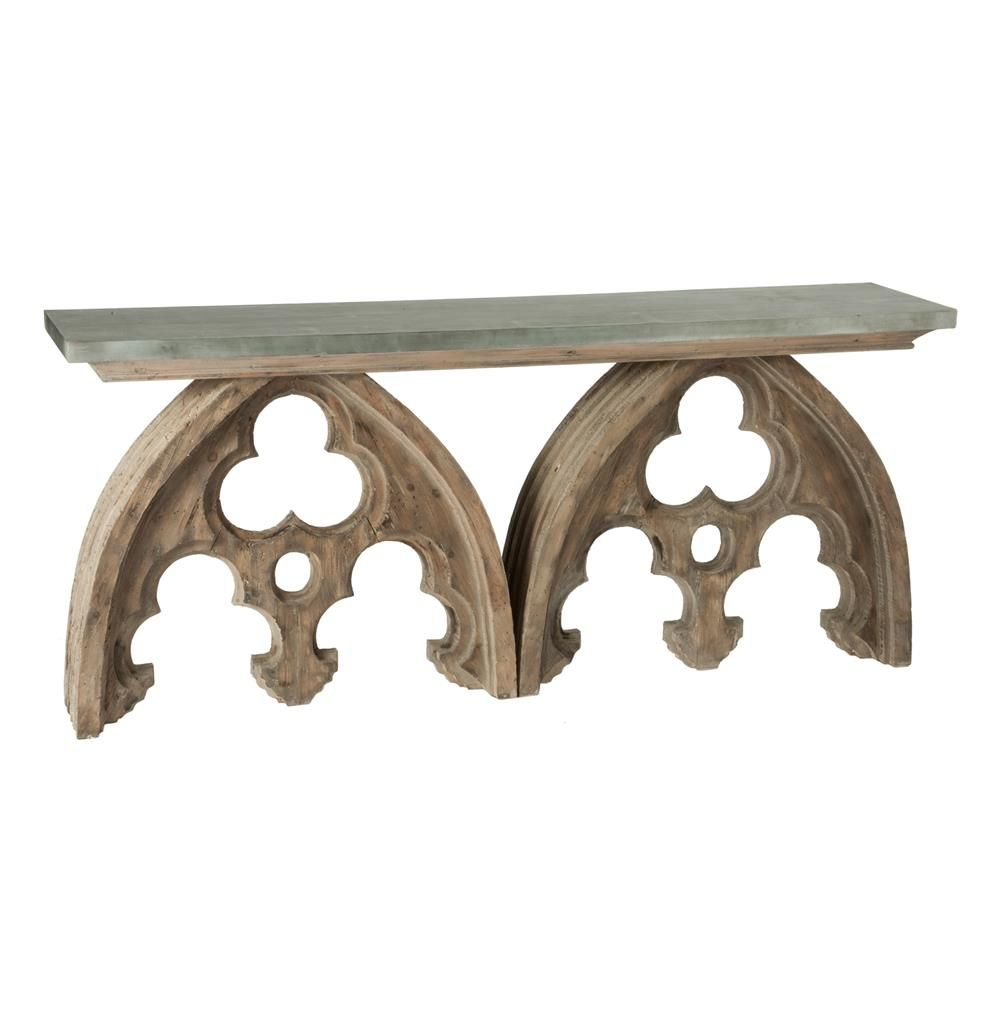 Gothic french cathedral arch aged wood console table tin top gothic french cathedral arch aged wood console table tin top geotapseo Image collections