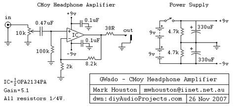 Cmoy Headphone Amp Schematic