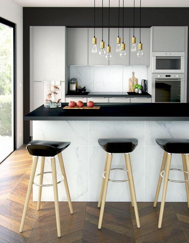 Une cuisine design pour un intérieur contemporain - Elle Décoration #cuisinedintérieurcontemporain