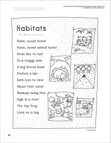 Habitats: Poem Fluency-Building Read-Aloud Poem} - Printables | 2nd ...