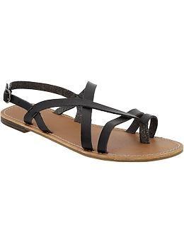 Women S Cross Front Faux Leather Sandals Old Navy Ellen
