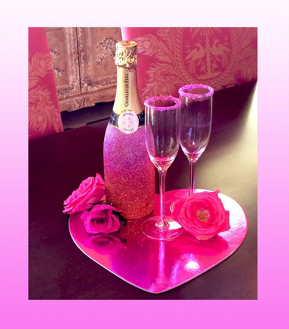 Valentines Day DIY Glitter Ombre Champagne or Sparkling Cider bottle ...