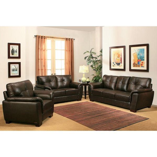 abbyson living belize 3-piece top grain leather sofa set | new