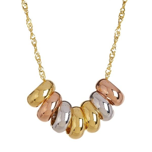 Royal Chain Group 10K Tricolor Gold Lucky 7Ring 18 Necklace