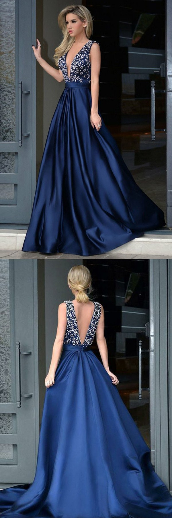 Aline deep vneck royal blue satin backless prom dress with beading